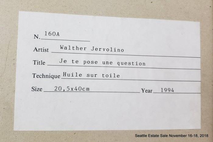 "Walter Jervolino  (born 1944) oil painting ""Je te pose un question"""