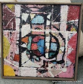 """Aubrey John Robert Penny  (1917-2000)  Oil on Canvas, Autonomous Forms 124A Approx. Size: 18"""" x 18"""""""
