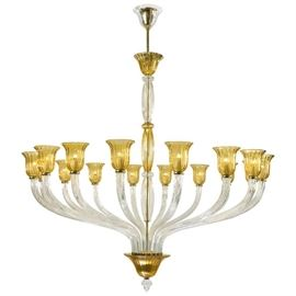 "Pair of 63"" monumental 16-arm Murano glass chandeliers."