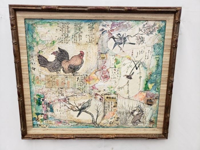 """Chinese bird collage in bamboo-style frame.Approx. Size: 23.5"""" x 20"""""""
