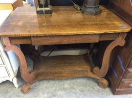 Quarter Sawn Oak libary table with drawer