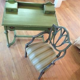 Green 1930's desk, hand painted chair sold seperate, but match nicely