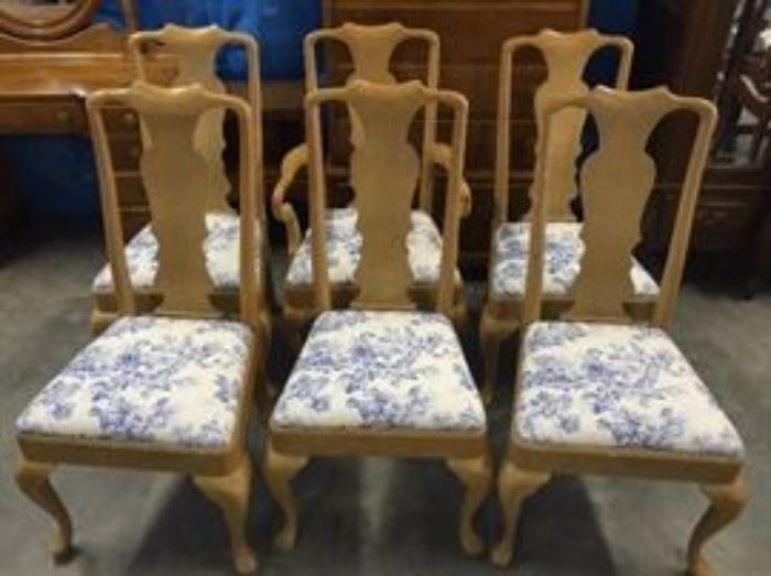 Henderdon Olive Ash Fench set of six chairs, new uplhostery in royal blue toile