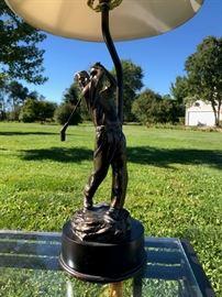 Golfer brass lamp