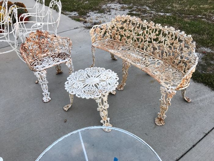 Heavy Metal Grape Pattern Bench, Chair and tables