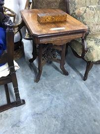 Walnut Eastlake table, and antique wood burn box