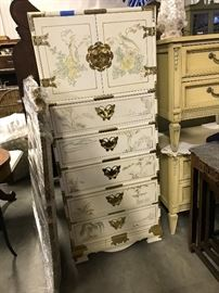Exquisite Rare White Asian Jewelry Chest with Butterfly brass hardware