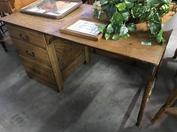Antique Folding Oak Desk