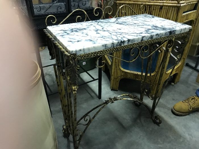Iron table with marble top