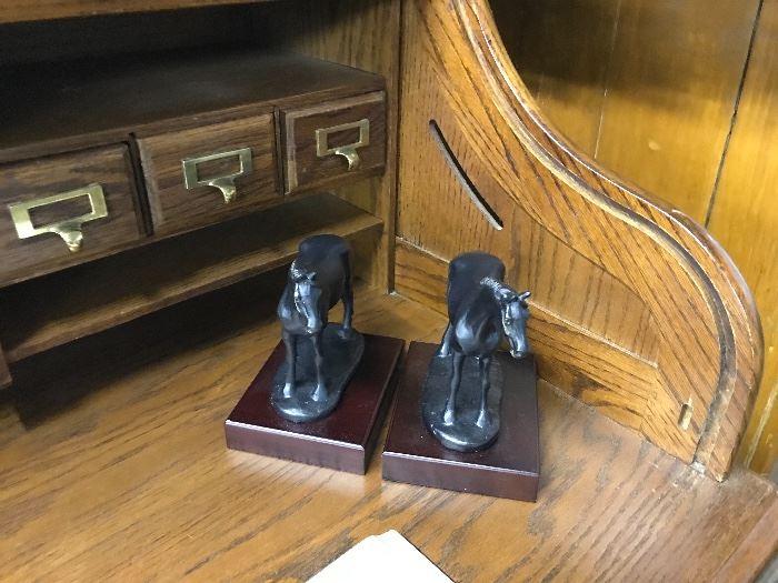 Horse book ends, roll top oak desk