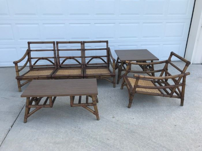 Cali-Asia mid century rattan set with original cushions and fabric. see next pictures