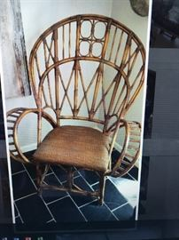 Pair of special commission rattan chairs understood Ralph Lauren design for Northstroms.