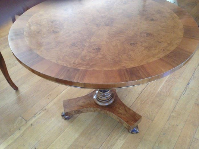 Gorgeous inlaid burled table table with claw feet, just stunning in any room.