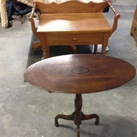 small oval table, with inlaid medallion, and walnut wash stand with draw