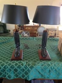 Pair of ladies black riding boot lamps, custom made , set on wood made with walnut, black shades. For all horse lovers!