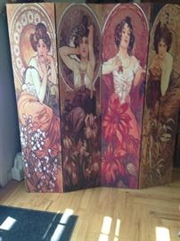 Alphonse Mucha the famous Czechoslokia Painter, silk screen,  Just stunning in any room.