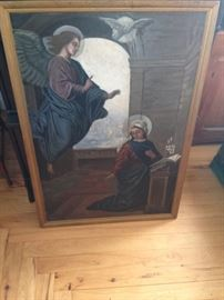 Antique Oil painting with beautiful angel and white dove