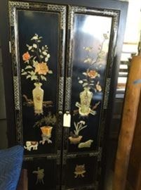 Custom made from a 4 panel screen, spring , summer, fall and winter. we have the other 2 panels too. Made with real jade