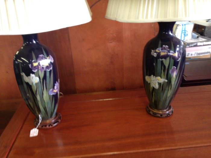 STUNNING HAND PAINTED IRIS LAMPS WITH CARVED WOOD BASE, JUST STUNNGING