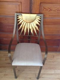DESIGNER BRUSHED  STAINLESS STEEL CHAIR WITH SUNBURST, sorry our barn is full this will be at our Dec. sale