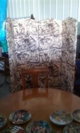 Four Panel Custom Screen, in brown and white