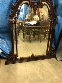 Large Dark Walnut Mirror, outstanding carvings