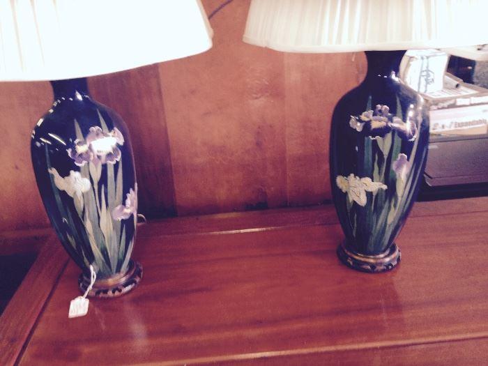 Hand Painted Iris Lamps