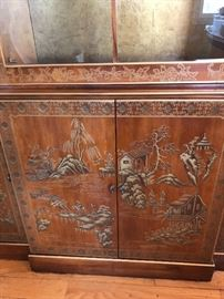 Asian hand painting, china cabinet