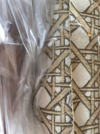 Geometric fabric pattern, a heavy woven upholstery material. for the French rattan Set