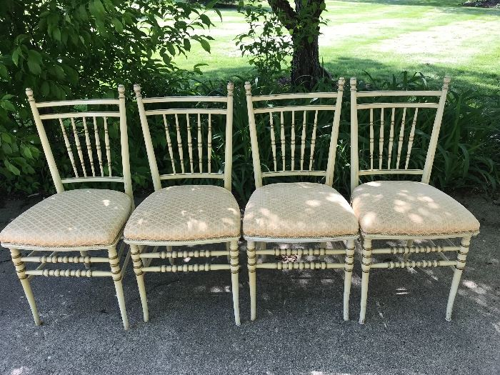Set of 4 , painted in original buttery yellow,  can be painted gold to give a French look