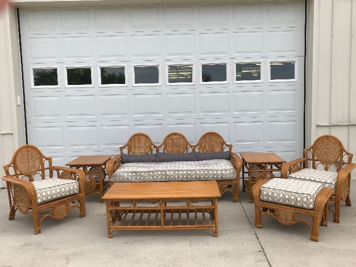 1920's Art Deco Rare Rattan set, a must see, new upholstery  geometric fabric