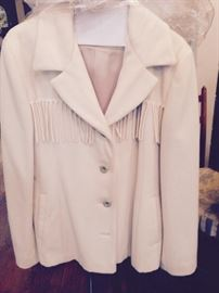 Soft wool lined Jacket in Cream with fringe