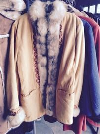 Swede and fur coat