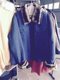blue jean and fur coat