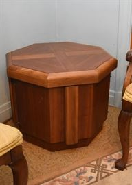 Mid Century Octagonal End Table / Cabinet