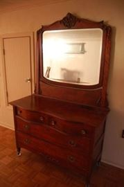 Antique Cherry Serpentine Front Dresser with Mirror