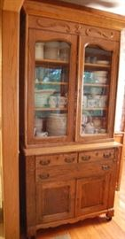 Antique Oak Step Back Kitchen Cupboard Cabinet