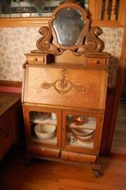 Antique Oak Drop Front Secretary Desk / China Cabinet with Unusual Griffin Mirror