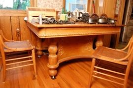 Unusual Antique Oak Dining Table & Pressed Back Chairs