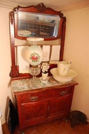 Unusual Antique Cherry Serpentine Front Washstand with Tall Mirror