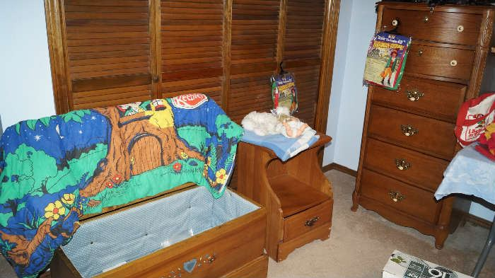 cedar chest, night stand, tall chest of drawers