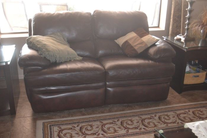Double Reclining Leather Loveseat