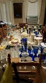 Many vintage dishes, glassware, pitcher collection, knick-knacks.