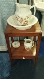 Wash stand, bowl and pitcher set