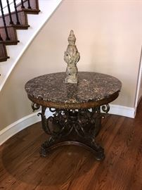 "Maitland-Smith Finely Cast Sherwood Brass & Ash Burl Veneer Center Table with Snakeskin Stone Top 46"" D x 34"" T"