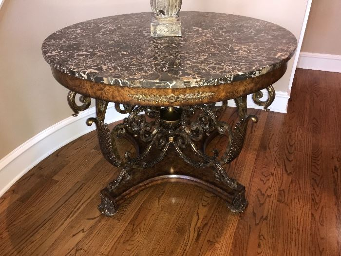 """Maitland-Smith Finely Cast Sherwood Brass & Ash Burl Veneer Center Table with Snakeskin Stone Top 46"""" D x 34"""" T"""