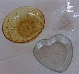 3 decorative glass relish dishes