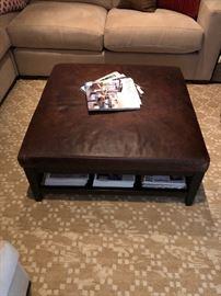 "Brody square leather ottoman ottoman originally $899 34""w x 34""d x 16""h  ottoman $300"