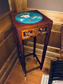 "cloisonne inlaid rosewood table $300 12.5"" sq x 35.5""h"