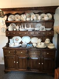 Large pine hutch. Collection of milk glass & China.